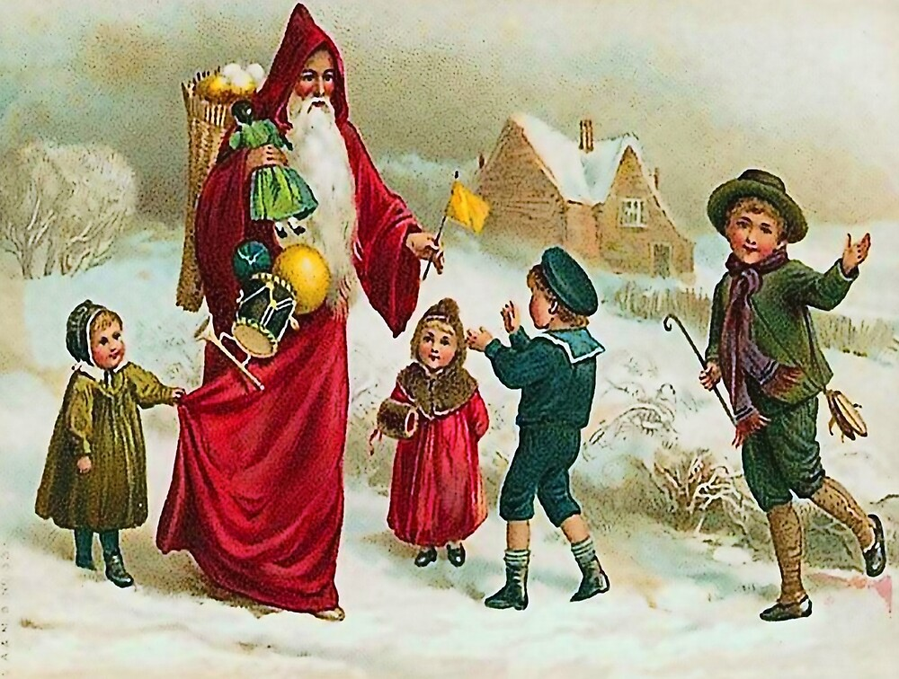 Santa Claus is giving toys to kids, vintage greeting card by AmorOmniaVincit
