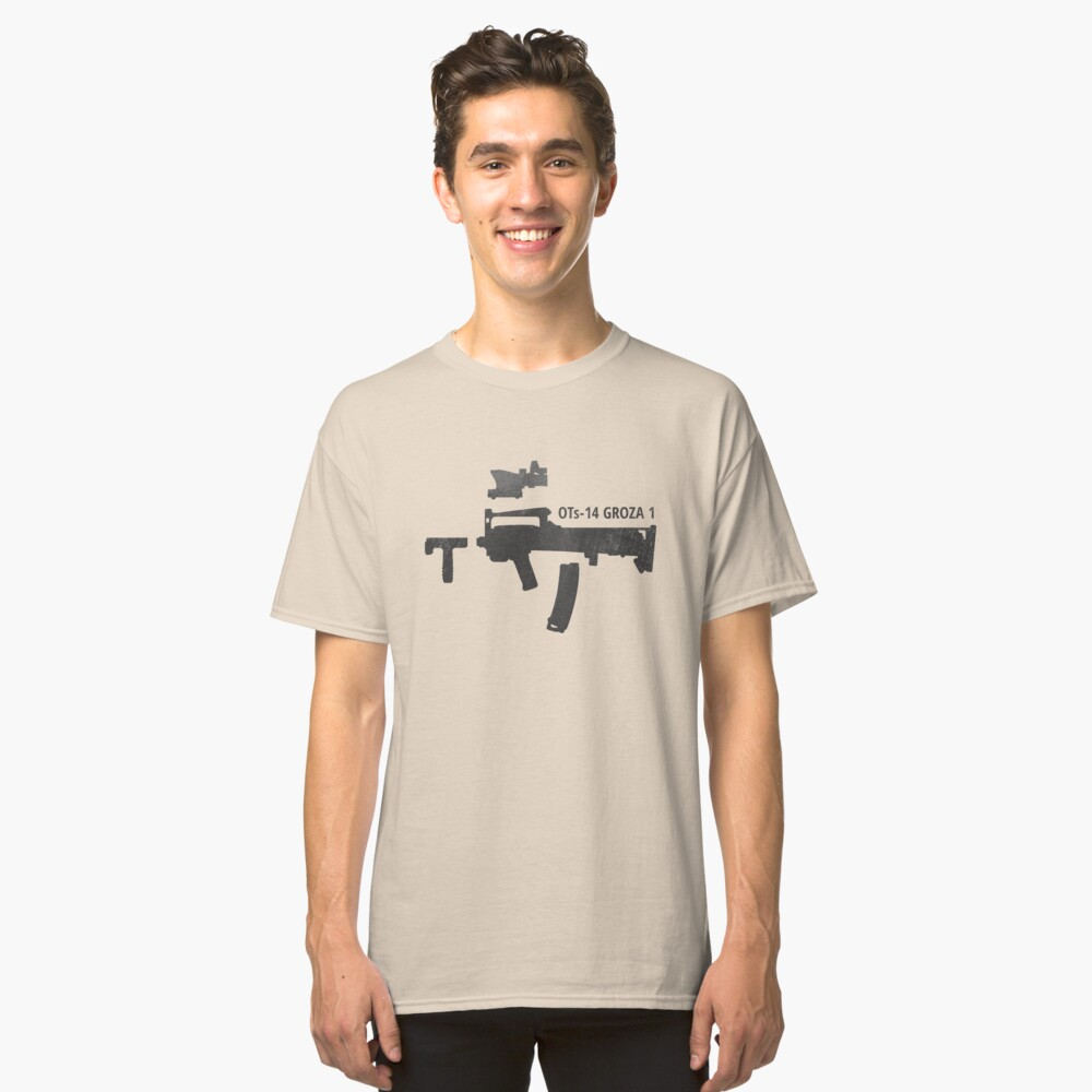 OTs-14 Bullpup Rifle Groza (ОЦ-14 Гроза) black silhouette with accessories Classic T-Shirt Front