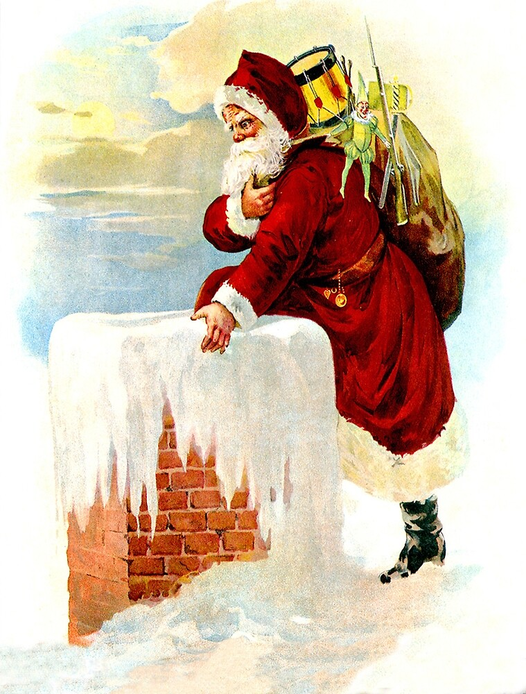Santa Claus is climbing to a chimney, vintage greeting card by AmorOmniaVincit