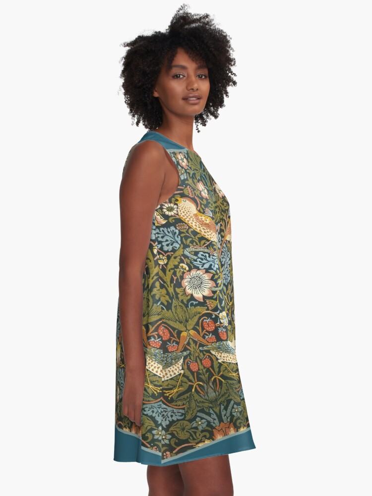 Alternate view of William Morris Pattern Birds and Flowers A-Line Dress