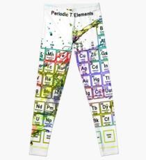 Colorful Periodic Table Of The Elements  with liquid splatters. Leggings