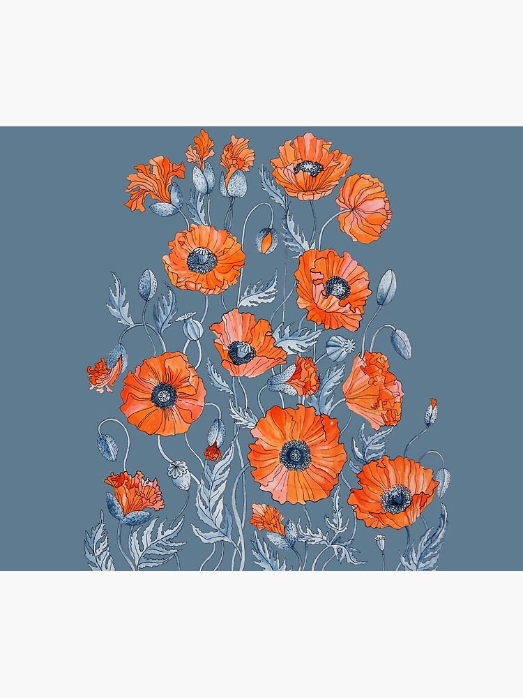 Poppies Floral Botanical art by Ruta