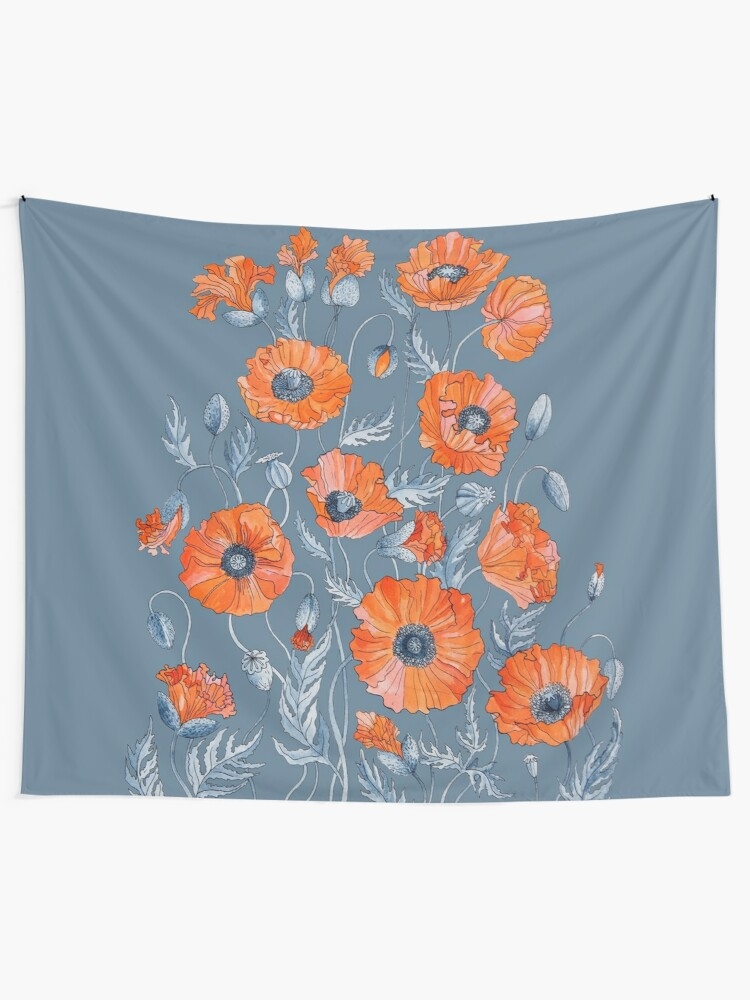 Alternate view of Poppies Floral Botanical art Tapestry