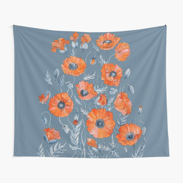 Poppies Floral Botanical art Tapestry