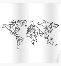 Geometric World Map Drawing Posters Redbubble