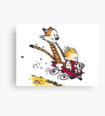 Calvin and Hobbes Red Flyer Canvas Print