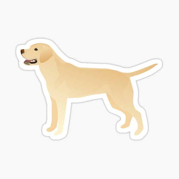 White Yellow Lab Basic Breed Silhouette Illustration Sticker