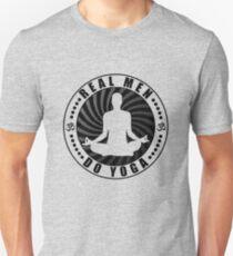 Real Men Do Yoga T-Shirt Design. Slim Fit T-Shirt