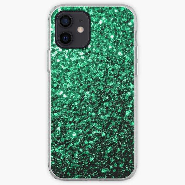 Beautiful Emerald Green faux glitter sparkles iPhone Soft Case
