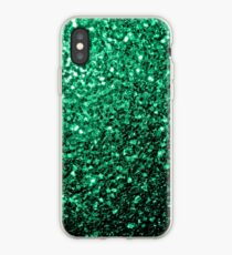 Beautiful Emerald Green glitter sparkles iPhone Case