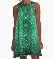 Schöner Smaragdgrün-Funkeln funkelt A-Linien Kleid