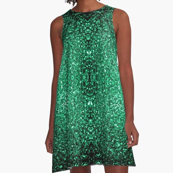 Hermosos destellos de brillo verde esmeralda Vestido acampanado