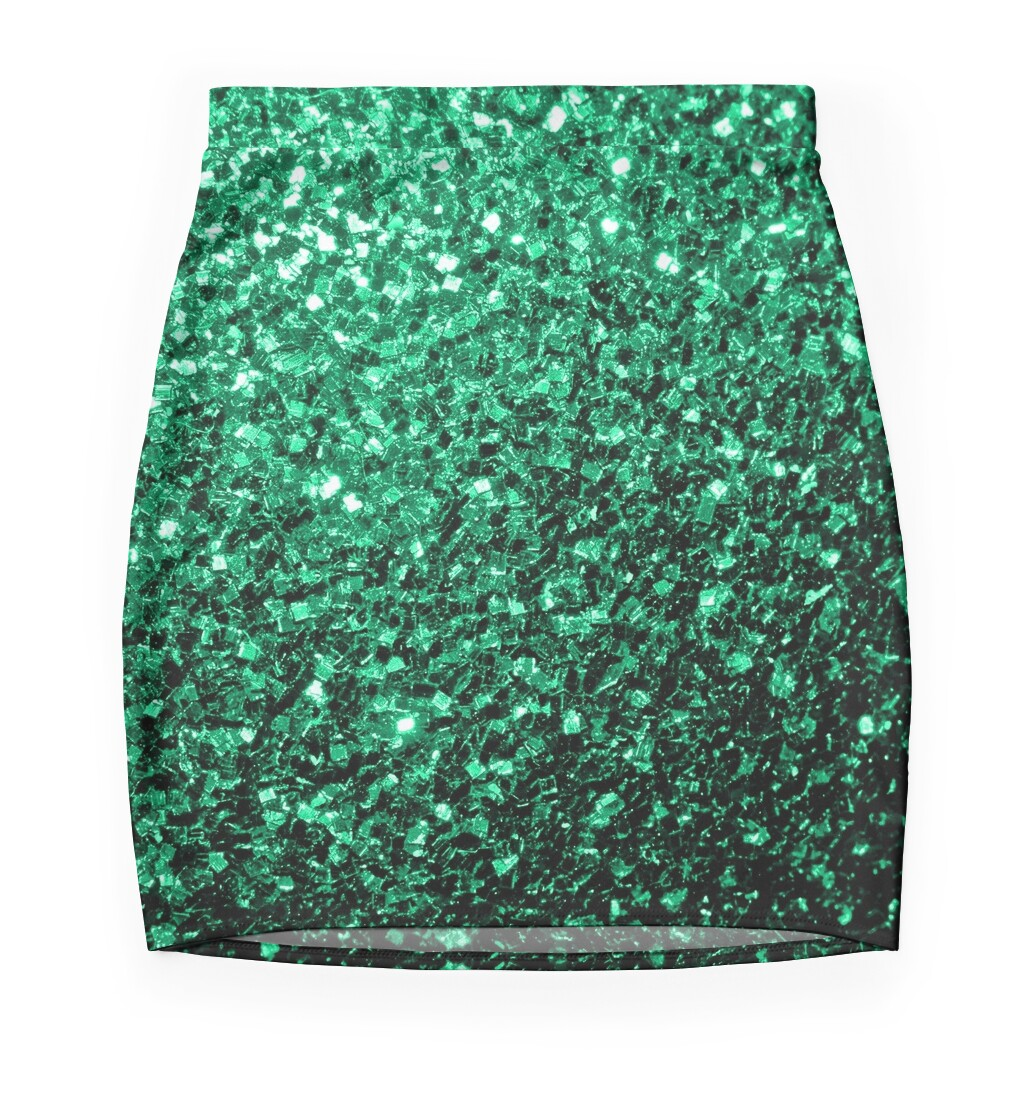 Beautiful Emerald Green glitter sparkles. Beautiful Emerald Green glitter sparkles  Mini Skirts by PLdesign