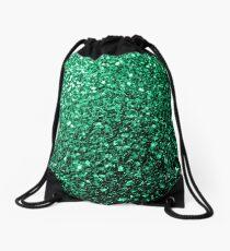 Beautiful Emerald Green glitter sparkles Drawstring Bag