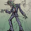 Zombie office worker illustration by Extreme-Fantasy