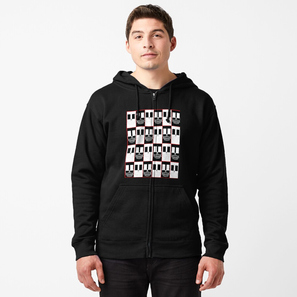 Red Rectangle Skull Zipped Hoodie