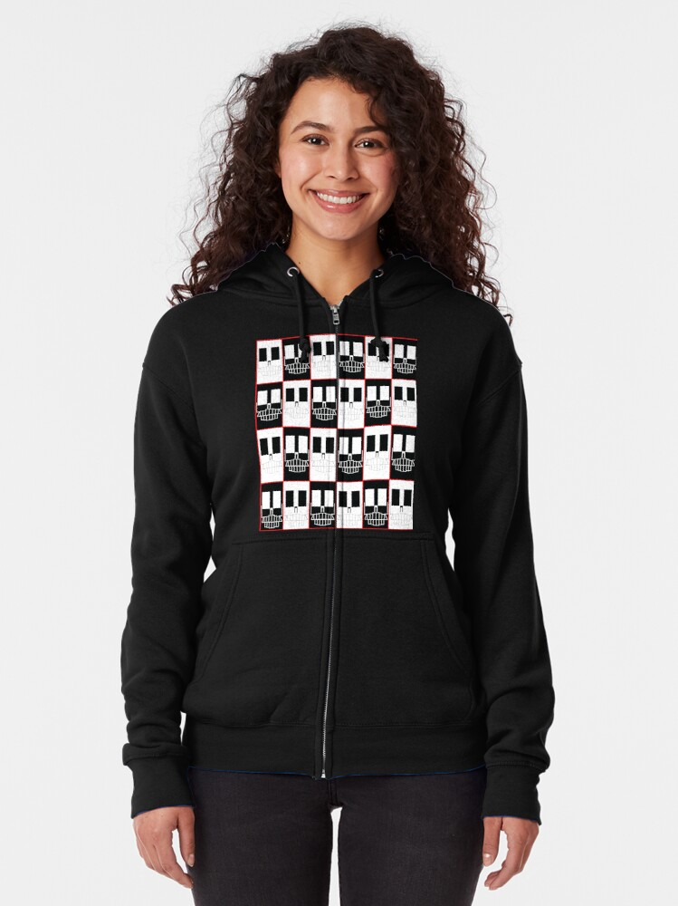 Alternate view of Red Rectangle Skull Zipped Hoodie