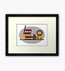 House Shelf - Lion (grey background) Framed Print