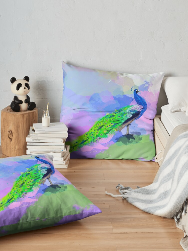 Alternate view of Peacock Dream - peacock painting, animal illustration, colorful Floor Pillow