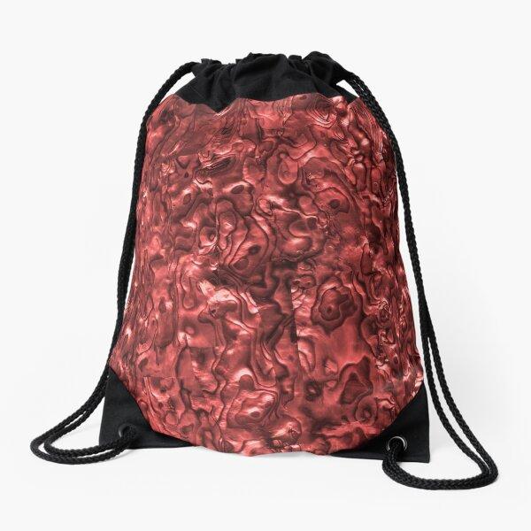 Abalone Shell | Paua Shell | Seashell Patterns | Sea Shells | Red Tint |  Drawstring Bag