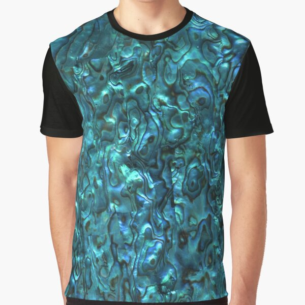 Abalone Shell | Paua Shell | Seashell Patterns | Sea Shells | Cyan Blue Tint |  Graphic T-Shirt