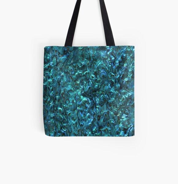 Abalone Shell   Paua Shell   Seashell Patterns   Sea Shells   Cyan Blue Tint    All Over Print Tote Bag
