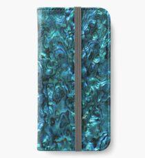 Abalone Shell | Paua Shell | Cyanblaue Tönung iPhone Flip-Case/Hülle/Klebefolie