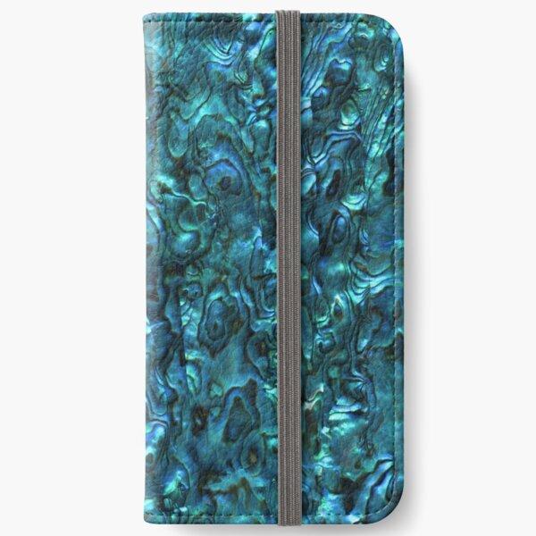 Abalone Shell   Paua Shell   Seashell Patterns   Sea Shells   Cyan Blue Tint    iPhone Wallet
