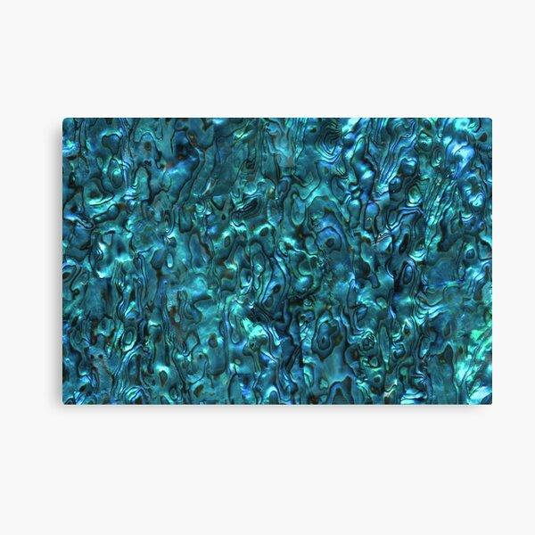 Abalone Shell | Paua Shell | Seashell Patterns | Sea Shells | Cyan Blue Tint |  Canvas Print