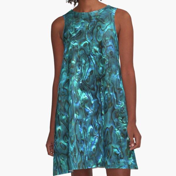 Abalone Shell | Paua Shell | Seashell Patterns | Sea Shells | Cyan Blue Tint |  A-Line Dress