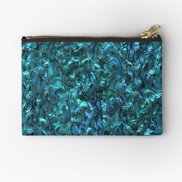 Abalone Shell   Paua Shell   Seashell Patterns   Sea Shells   Cyan Blue Tint    Zipper Pouch