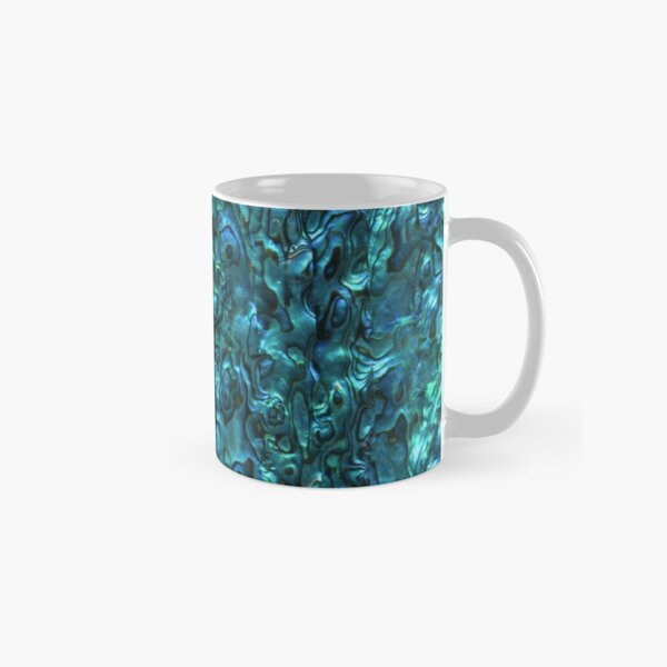 Abalone Shell | Paua Shell | Seashell Patterns | Sea Shells | Cyan Blue Tint |  Classic Mug