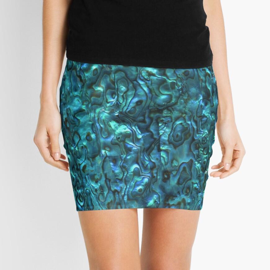 Abalone Shell | Paua Shell | Seashell Patterns | Sea Shells | Cyan Blue Tint |  Mini Skirt