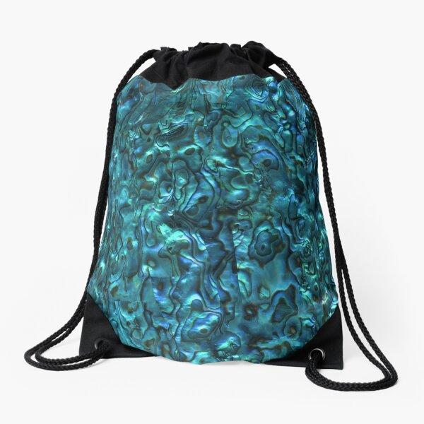 Abalone Shell | Paua Shell | Seashell Patterns | Sea Shells | Cyan Blue Tint |  Drawstring Bag