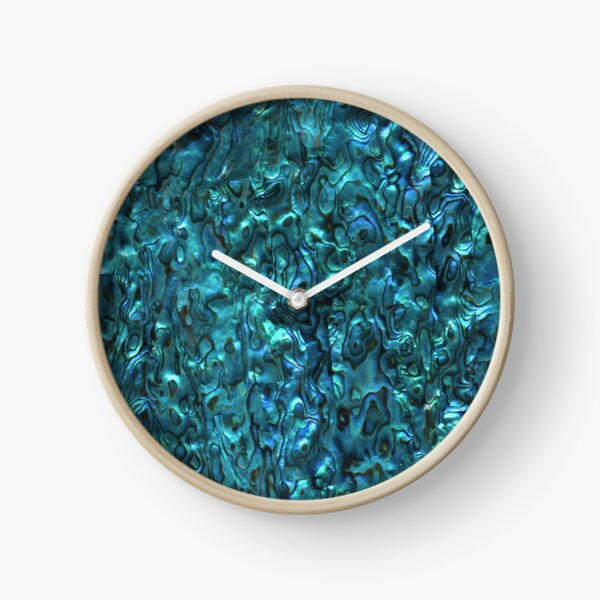 Coquille d'ormeau | Paua Shell | Motifs Coquillage | Coquillages | Teinte Bleu Cyan | Horloge