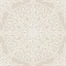 White Lace Mandala on Antique Ivory Linen Background by Kelly Dietrich