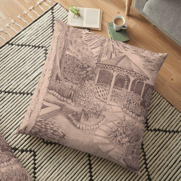 Pink Backyard Paradise Floor Pillow