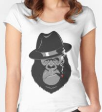 Smoking Monkey - Top Hat Women's Fitted Scoop T-Shirt