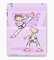 Karate boy in direct combat position iPad Case/Skin