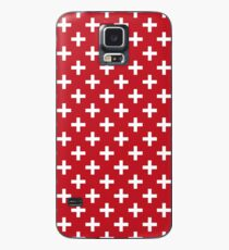 Criss Cross | Plus Sign | Red and White Case/Skin for Samsung Galaxy