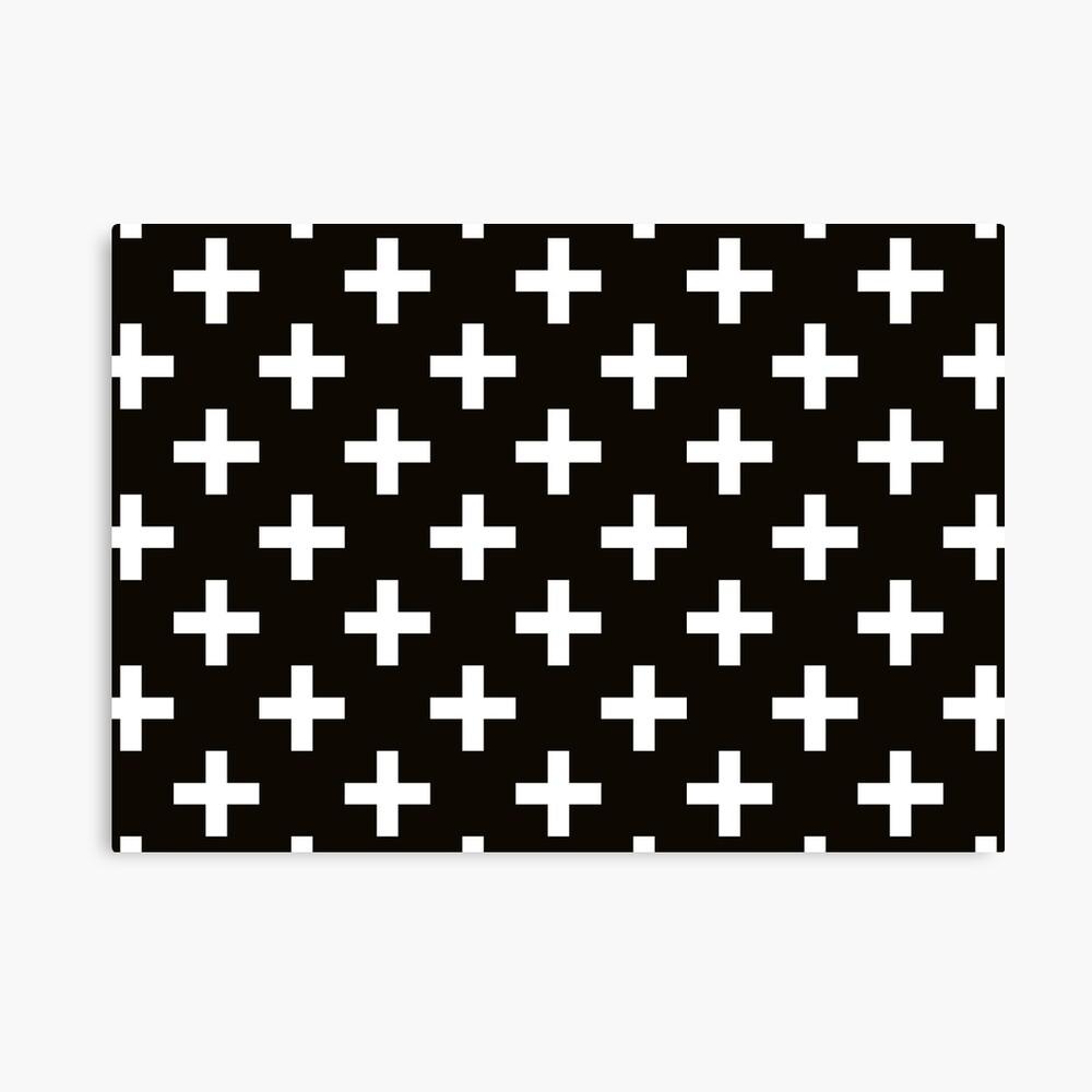 Crosses | Criss Cross | Swiss Cross | Hygge | Scandi | Plus Sign | Black and White |  Canvas Print