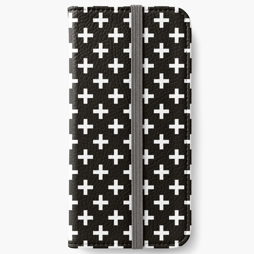 Crosses | Criss Cross | Swiss Cross | Hygge | Scandi | Plus Sign | Black and White |  iPhone Wallet