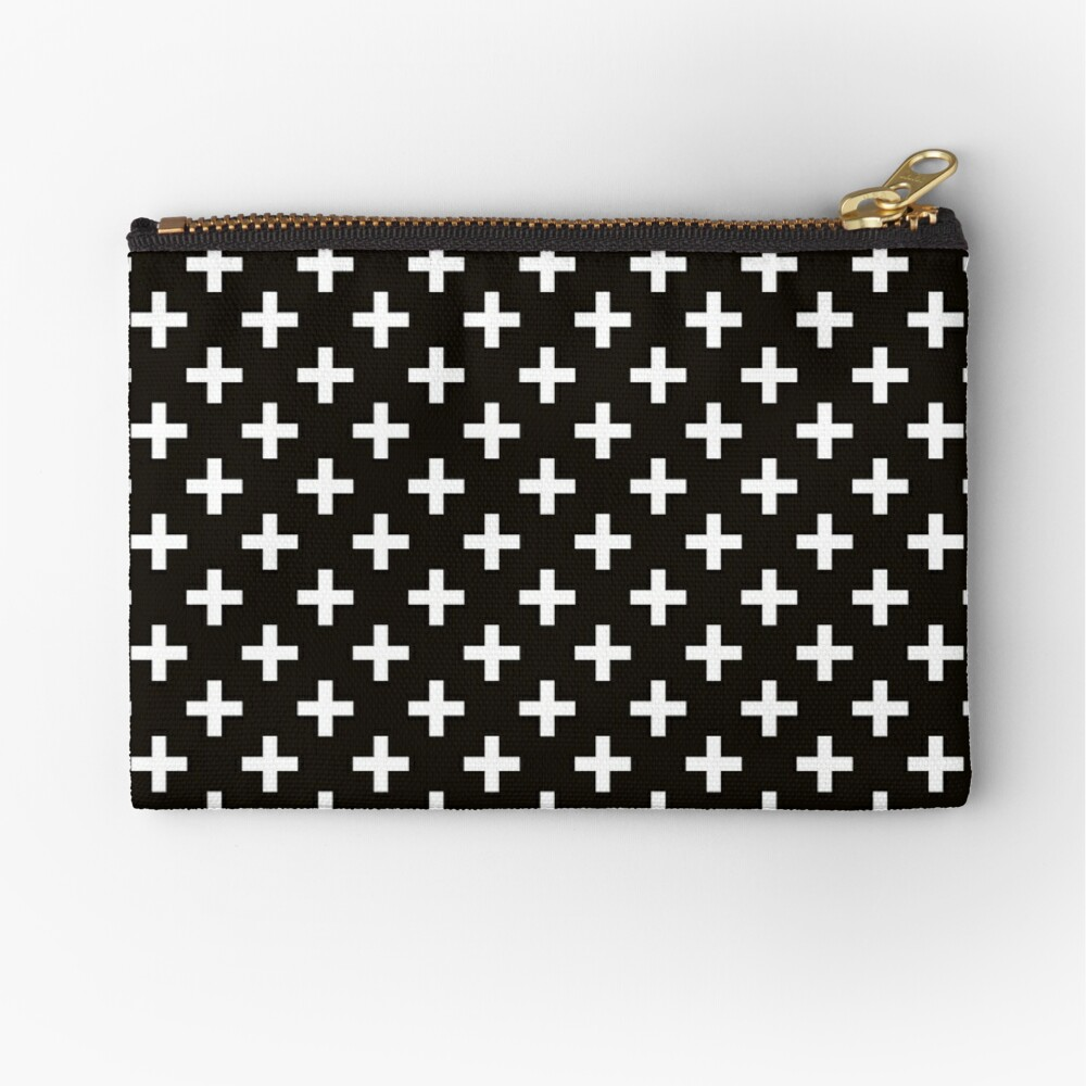 Crosses | Criss Cross | Swiss Cross | Hygge | Scandi | Plus Sign | Black and White |  Zipper Pouch