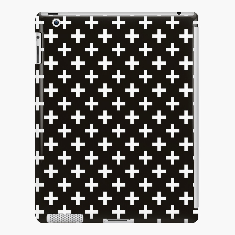 Crosses | Criss Cross | Swiss Cross | Hygge | Scandi | Plus Sign | Black and White |  iPad Snap Case