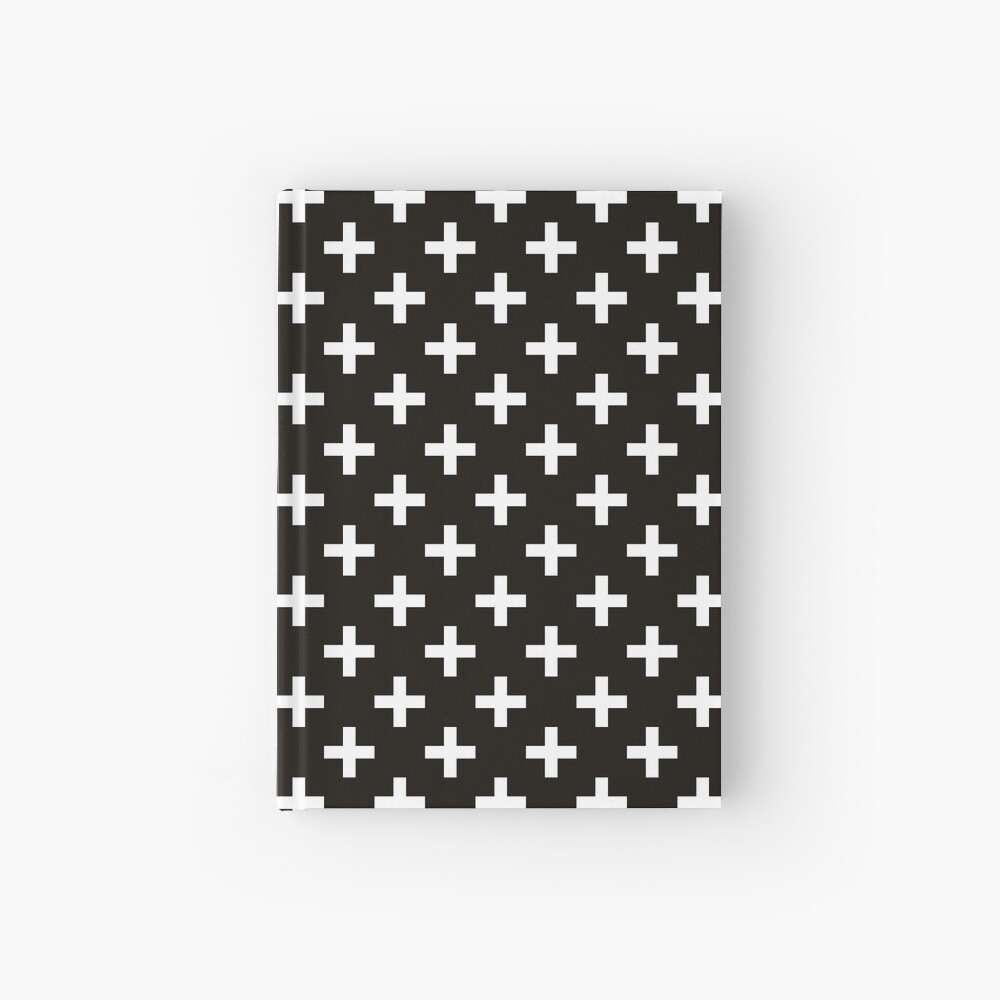 Crosses | Criss Cross | Swiss Cross | Hygge | Scandi | Plus Sign | Black and White |  Hardcover Journal