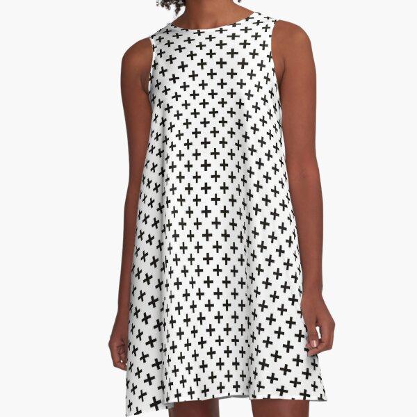Crosses | Criss Cross | Swiss Cross | Hygge | Scandi | Plus Sign | Black and White |  A-Line Dress