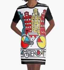 AMSTERDAM : Vintage Bicycle Advertising Print Graphic T-Shirt Dress