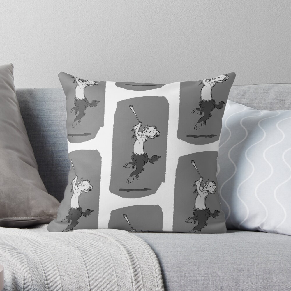 Pan with Flute Throw Pillow