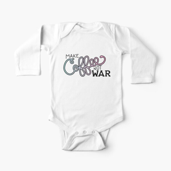 Peace, Love, and Coffee (in Cotton Candy) Long Sleeve Baby One-Piece