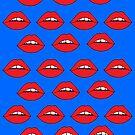 Rote Lippen auf Blau von Corey Paige Designs